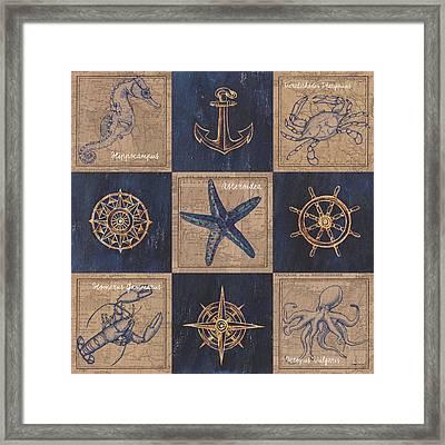 Nautical Burlap Framed Print by Debbie DeWitt