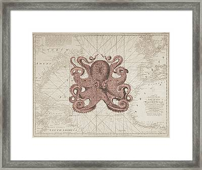 Nautical Octopus Sea Chart Framed Print by Erin Cadigan