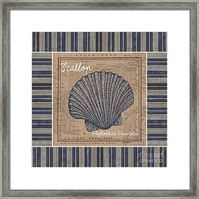 Nautical Stripes Scallop Framed Print by Debbie DeWitt