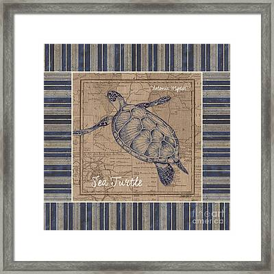 Nautical Stripes Sea Turtle Framed Print by Debbie DeWitt