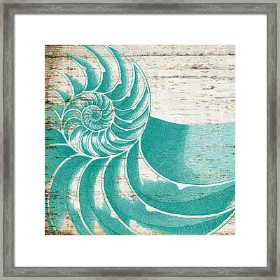 Nautilus Shell Distressed Wood Framed Print by Brandi Fitzgerald