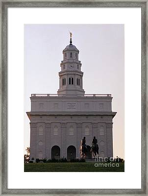 Nauvoo Temple Dawn  With Bronze Sculpture Of Hyrum And Joseph Smith Framed Print by Kim Corpany