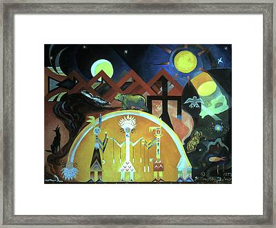 Navajo Gods Dance The Creation Of The World Framed Print by Willoughby Senior