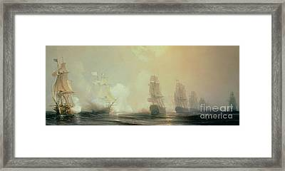 Naval Battle In Chesapeake Bay Framed Print by Jean Antoine Theodore Gudin