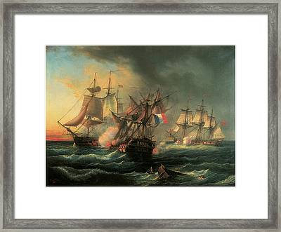 Naval Combat Between The Rights Of Man And The English Vessel Indefatigable And The Frigate Amazon Framed Print by Leopold Le Guen