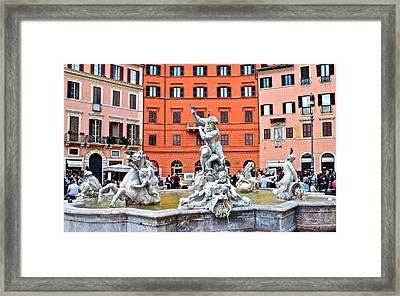Navona Piazza Fountain Framed Print by Frozen in Time Fine Art Photography