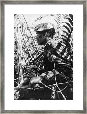 Navy Seal In Mekong Delta Framed Print by Underwood Archives
