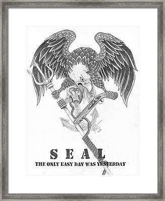 Navy Seal Tribute Framed Print by Joce Ruston