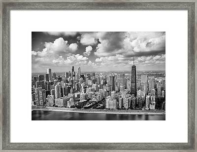 Near North Side And Gold Coast Black And White Framed Print by Adam Romanowicz
