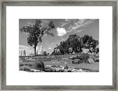 Near The Tulsa Skyline In Black And White Framed Print by Gregory Ballos