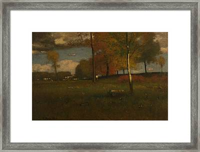 Near The Village, October Framed Print by George Inness
