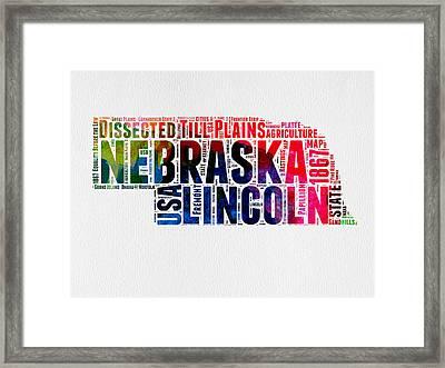 Nebraska Watercolor Word Cloud  Framed Print by Naxart Studio