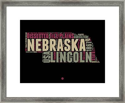 Nebraska Word Cloud 1 Framed Print by Naxart Studio