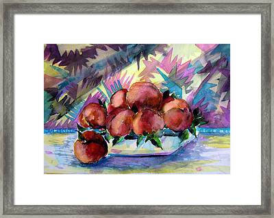 Nectarines Framed Print by Mindy Newman