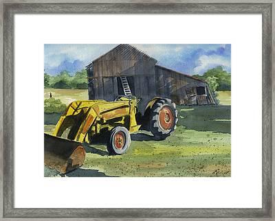 Neighbor Dons Tractor Framed Print by Marsha Elliott