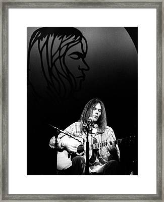Neil Young 1976 Framed Print by Chris Walter
