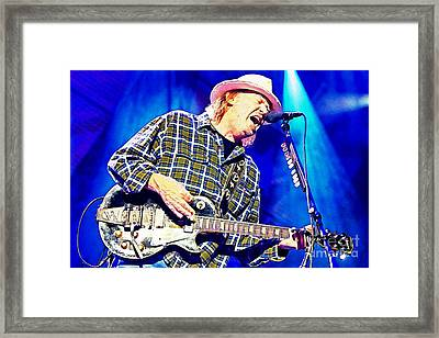 Neil Young In Concert Framed Print by John Malone