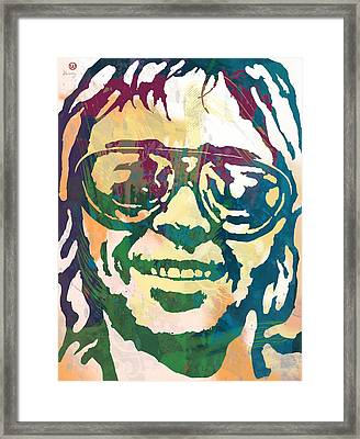 Neil Young Pop Stylised Art Poster Framed Print by Kim Wang