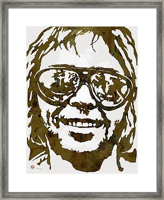 Neil Young Pop  Stylised Art Sketch Poster Framed Print by Kim Wang