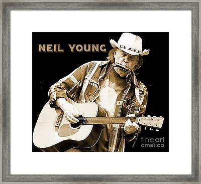 Neil Young Poster Framed Print by John Malone