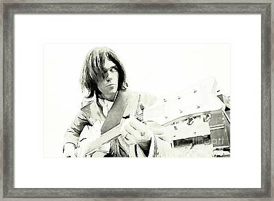 Neil Young Watercolor Framed Print by John Malone