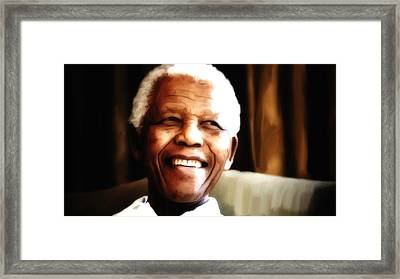 Nelson Mandela Framed Print by Brian Reaves