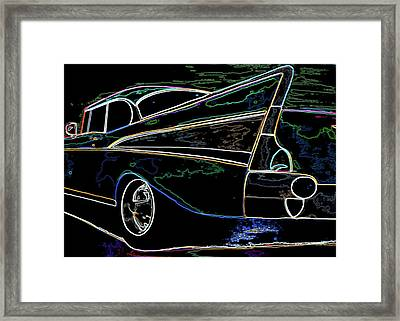 Neon 57 Chevy Bel Air Framed Print by Katy Hawk