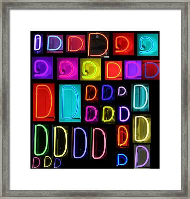 Neon Alphabet Series Letter D Framed Print by Michael Ledray
