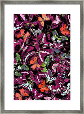 Neon Butterfly Vertical Framed Print by JQ Licensing