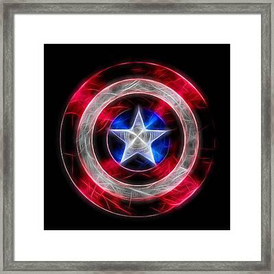 Neon Captain America Shield Framed Print by Dan Sproul