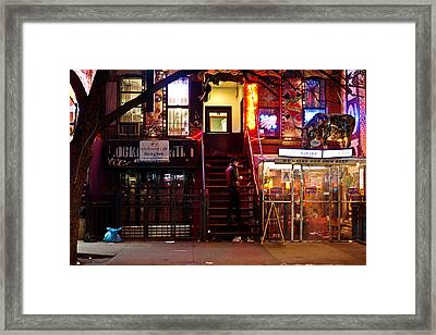 Neon Lights - New York City At Night Framed Print by Vivienne Gucwa