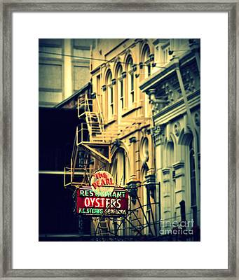 Neon Oysters Sign Framed Print by Perry Webster
