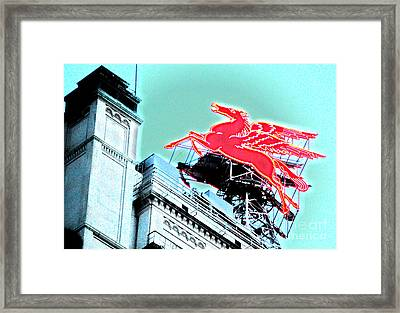 Neon Pegasus Atop Magnolia Building In Dallas Texas Framed Print by Shawn O'Brien