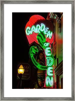 Neon Sign Garden Of Eden Framed Print by Garry Gay