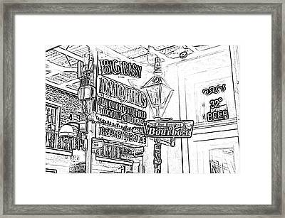 Neon Sign On Bourbon Street Corner French Quarter New Orleans Black And White Photocopy Digital Art Framed Print by Shawn O'Brien