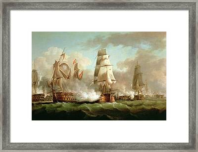 Neptune Engaging Trafalgar Framed Print by J Francis Sartorius