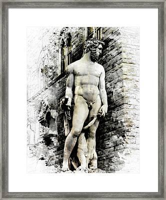 Neptune Statue In Florence - By Diana Van Framed Print by Diana Van