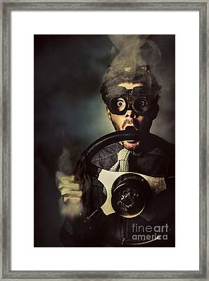 Nerd Business Man In A Fast Race Competition Framed Print by Jorgo Photography - Wall Art Gallery