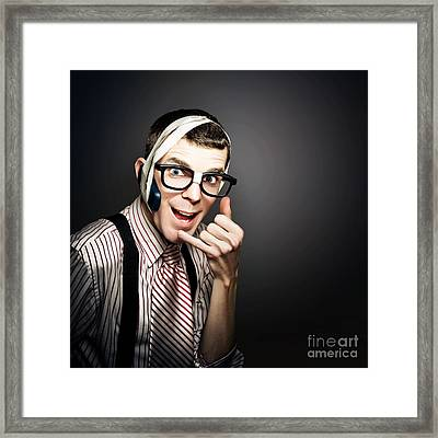 Nerd It Help Desk Phone Operator Over Copyspace Framed Print by Jorgo Photography - Wall Art Gallery