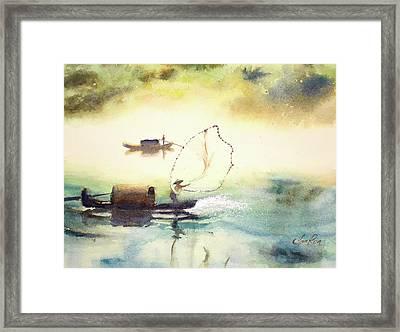 Netting Framed Print by Yan Ren