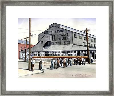 Nevins Boat Yard Framed Print by Marguerite Chadwick-Juner