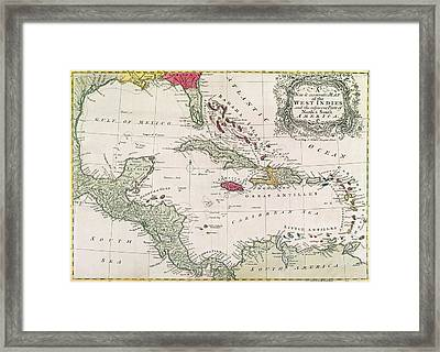 New And Accurate Map Of The West Indies Framed Print by American School