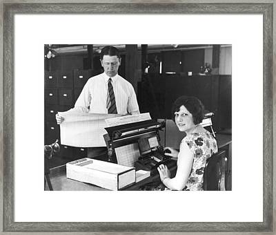 New Census Bureau Machines Framed Print by Underwood Archives