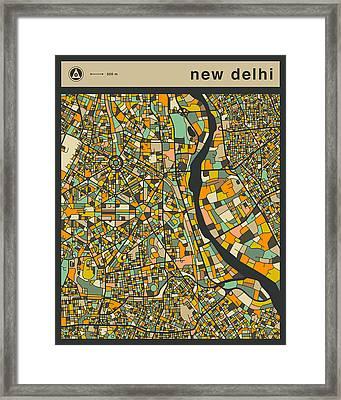 New Delhi City Map Framed Print by Jazzberry Blue
