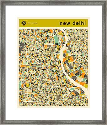 New Delhi Map 2 Framed Print by Jazzberry Blue