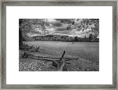New England Autumn Field Bw Framed Print by Bill Wakeley