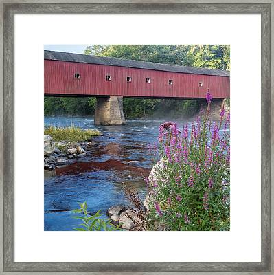 New England Covered Bridge Connecticut Square Framed Print by Bill Wakeley