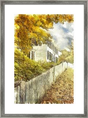 New England Fall Foliage Pencil Framed Print by Edward Fielding