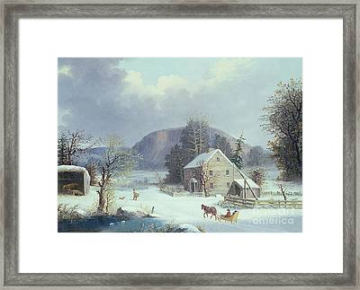New England Farm By A Winter Road, 1854  Framed Print by George Durrie