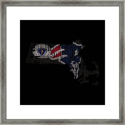 New England Patriots Typographic Map 03 Framed Print by Brian Reaves